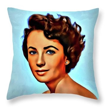 Elizabeth Taylor, Vintage Hollywood Legend Throw Pillow by Mary Bassett