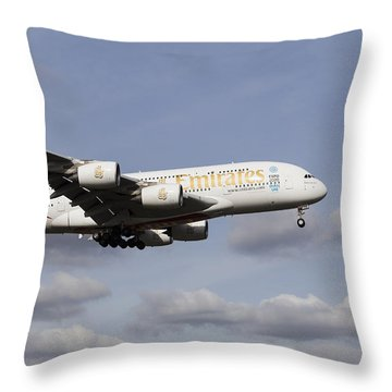 Emirates A380 Airbus Throw Pillow