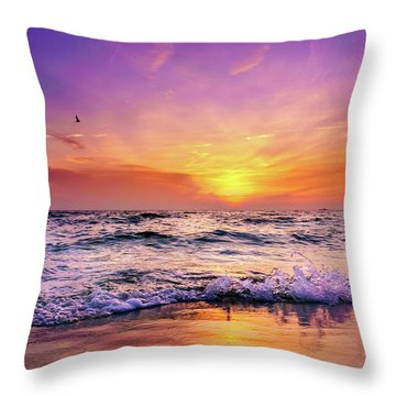 Throw Pillow featuring the photograph Evening Flight by Dmytro Korol