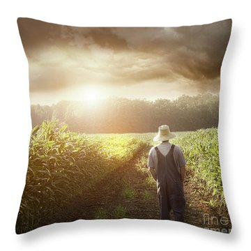 Farmer Walking In Corn Fields At Sunset Throw Pillow