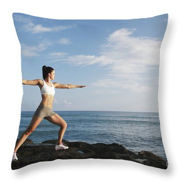 Female Doing Yoga Throw Pillow by Brandon Tabiolo - Printscapes