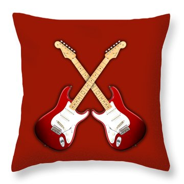 Fender Stratocaster American Standart Red   Throw Pillow by Doron Mafdoos