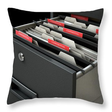 Filing Cabinet Drawer Open Confidential Throw Pillow