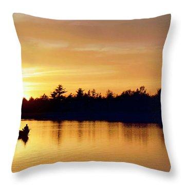 Fishermen On A Lake At Sunset Throw Pillow