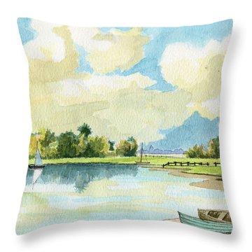 Fishing Lake Throw Pillow