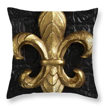 Gold Fleur-di-lis Throw Pillow