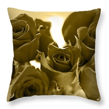 Floral Gold Collection Throw Pillow by Marvin Blaine
