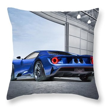 Throw Pillow featuring the digital art Ford Gt by Peter Chilelli