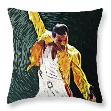 Freddie Mercury Throw Pillow by Taylan Apukovska