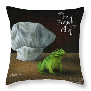 Throw Pillow featuring the painting French Chef... by Will Bullas