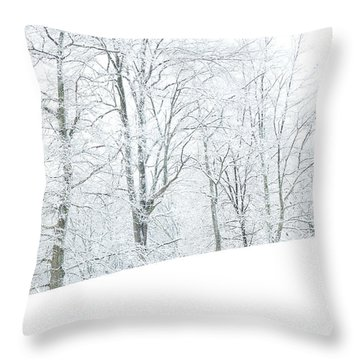 Frosted Trees And Pasture Field Throw Pillow