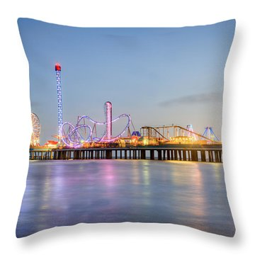 Galveston Pleasure Pier Sunset Throw Pillow by Ray Devlin