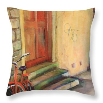 Throw Pillow featuring the painting Gato by Anne Dentler