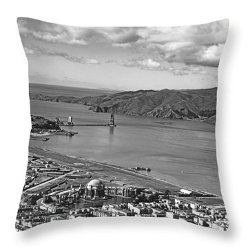 Gg Bridge Under Construction Throw Pillow