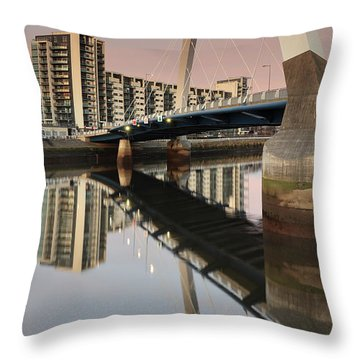 Glasgow Clyde Arc Bridge At Sunset Throw Pillow