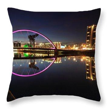 Glasgow Clyde Arc Bridge At Twilight Throw Pillow