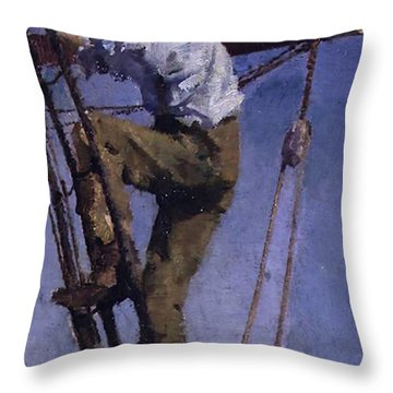 Throw Pillow featuring the painting Going Aloft by Henry Scott Tuke