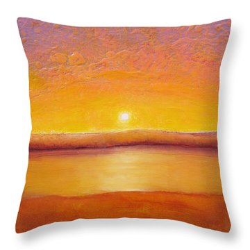 Gold Sunset Throw Pillow by Jaison Cianelli
