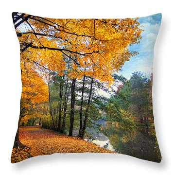 Golden Carpet Throw Pillow by Jessica Jenney