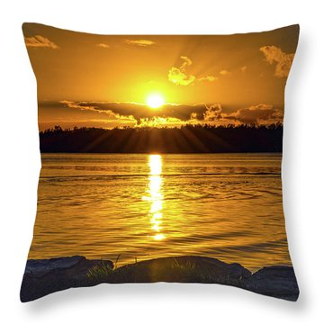 Golden Sunrise Waterscape Throw Pillow