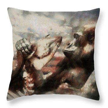 Throw Pillow featuring the photograph Gorilla  by Christine Sponchia