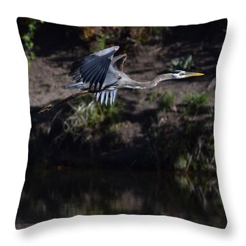 Throw Pillow featuring the digital art Great Blue Heron by Margarethe Binkley