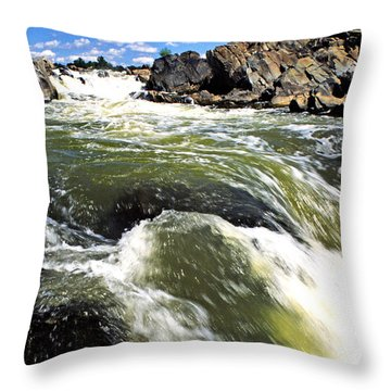 Great Falls Of The Potomac River Throw Pillow by Thomas R Fletcher