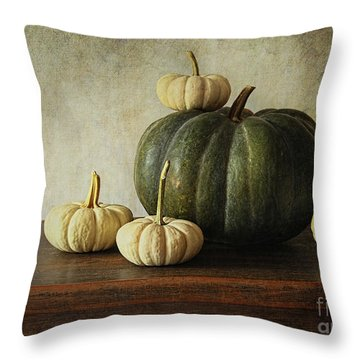 Green Pumpkin And Gourds On Table  Throw Pillow