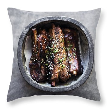 Grilled Marinated Pork Ribs With Sweet Sesame Sauce Throw Pillow