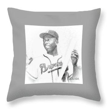 Hank Aaron Throw Pillow