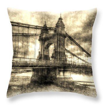 Hammersmith Bridge London Vintage Throw Pillow
