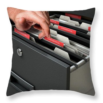 Hand Looking Though Filing Cabinet Drawer Throw Pillow