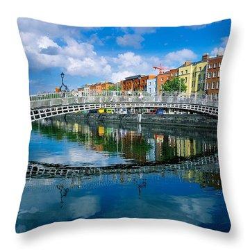 Hapenny Bridge, River Liffey, Dublin Throw Pillow by The Irish Image Collection