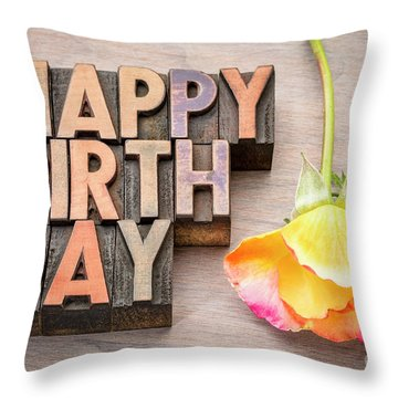 Happy Birthday Greetings Card In Wood Type Throw Pillow