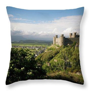 Harlech Castle, Snowdonia, Gwynedd, North Wales, Uk Throw Pillow