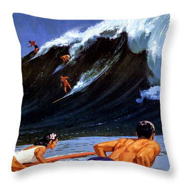 Hawaii Vintage Travel Poster Restored Throw Pillow