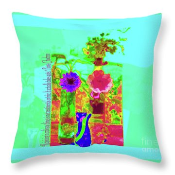 Hearts 'n Flowers-fauve Throw Pillow