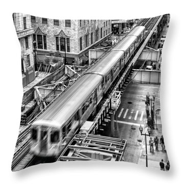 Historic Chicago El Train Black And White Throw Pillow by Christopher Arndt