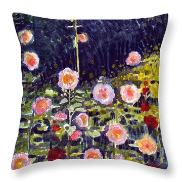 Hollyhocks Throw Pillow by Katherine Miller