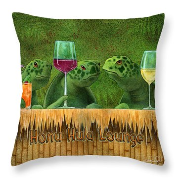 Throw Pillow featuring the painting Honu Hula Lounge... by Will Bullas
