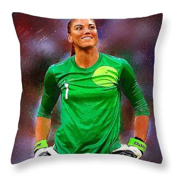 Hope Solo Throw Pillow by Semih Yurdabak
