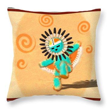 Dancing Hopi Sun Face Kachina Doll Throw Pillow