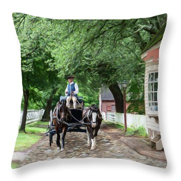 Horse Drawn Wagon Throw Pillow