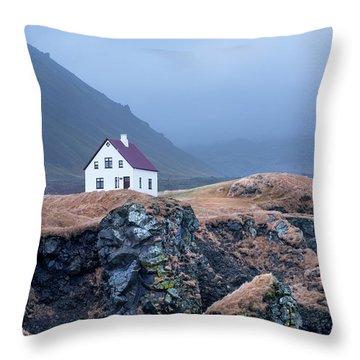 House On Ocean Cliff In Iceland Throw Pillow