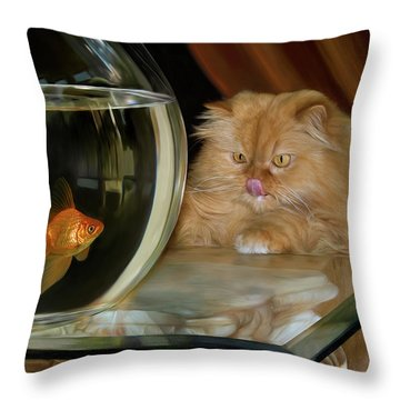 Throw Pillow featuring the digital art I Love Sushi by Thanh Thuy Nguyen