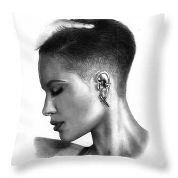 Halsey Drawing By Sofia Furniel Throw Pillow