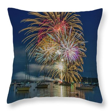 Independence Day Fireworks In Boothbay Harbor Throw Pillow
