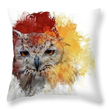 Indian Eagle-owl Throw Pillow
