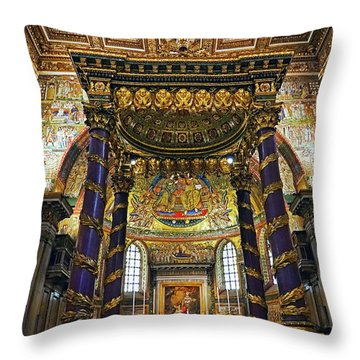 Interior View Of The Basilica Di Santa Maria Maggiore In Rome Italy Throw Pillow