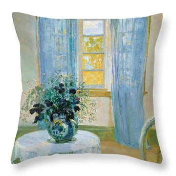 Interior With Clematis Throw Pillow